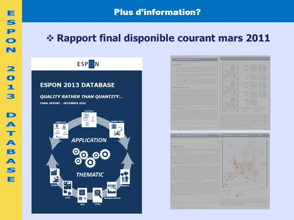 Rapport final disponible courant mars 2011