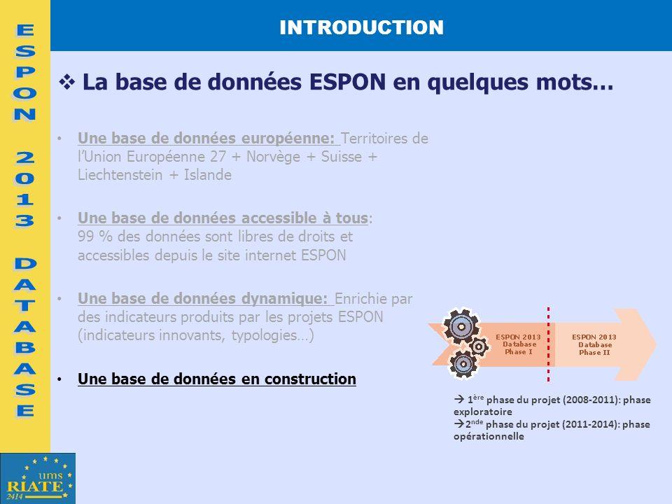 ESPON 2013 DATABASE La base de données ESPON en quelques mots…