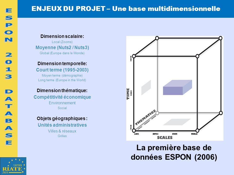 ESPON 2013 DATABASE La première base de données ESPON (2006)