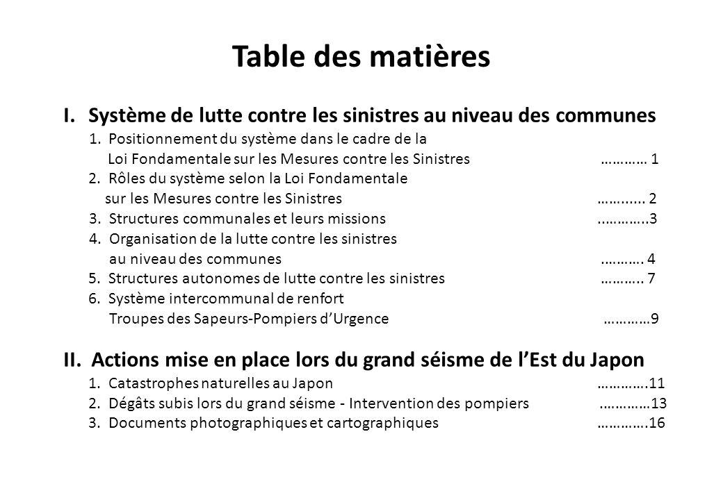 Table des matières Système de lutte contre les sinistres au niveau des communes. 1. Positionnement du système dans le cadre de la.