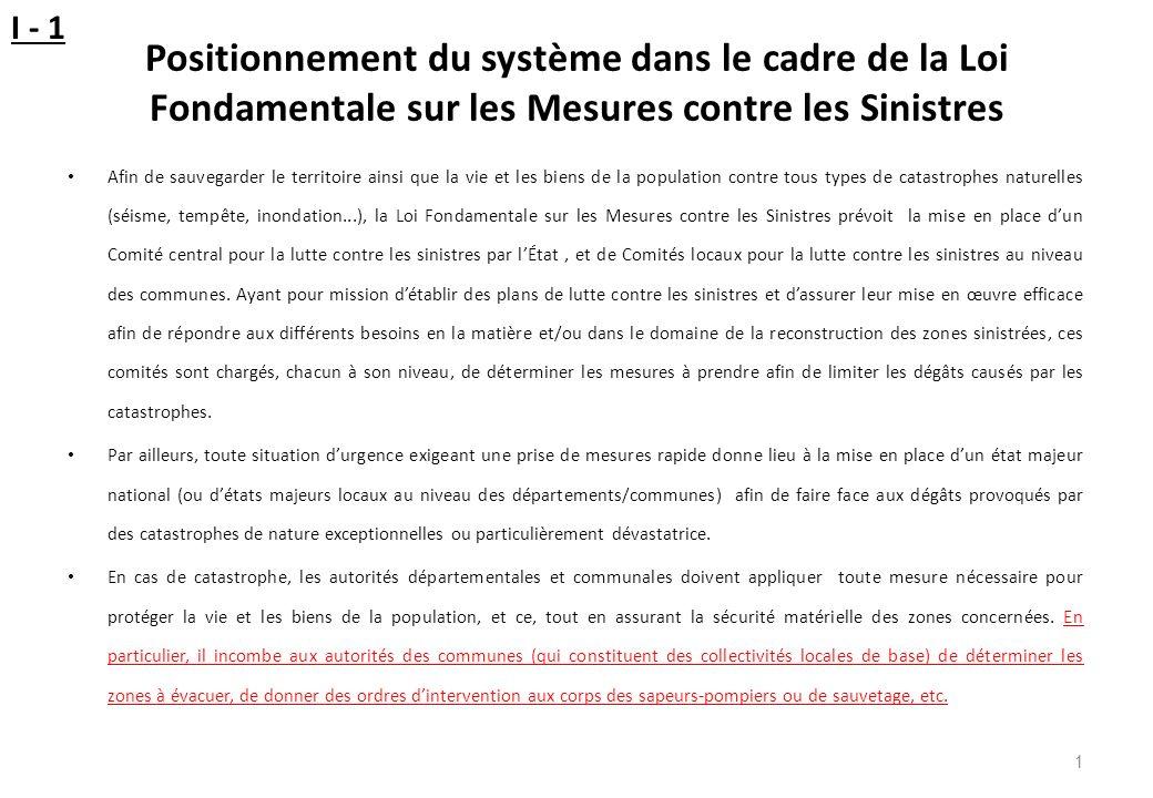 I - 1 Positionnement du système dans le cadre de la Loi Fondamentale sur les Mesures contre les Sinistres.