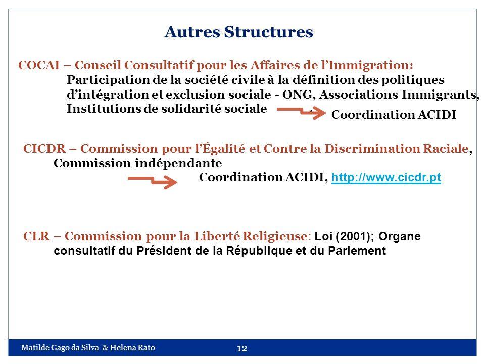 Autres Structures CICDR – Commission pour l'Égalité et Contre la Discrimination Raciale, Commission indépendante.
