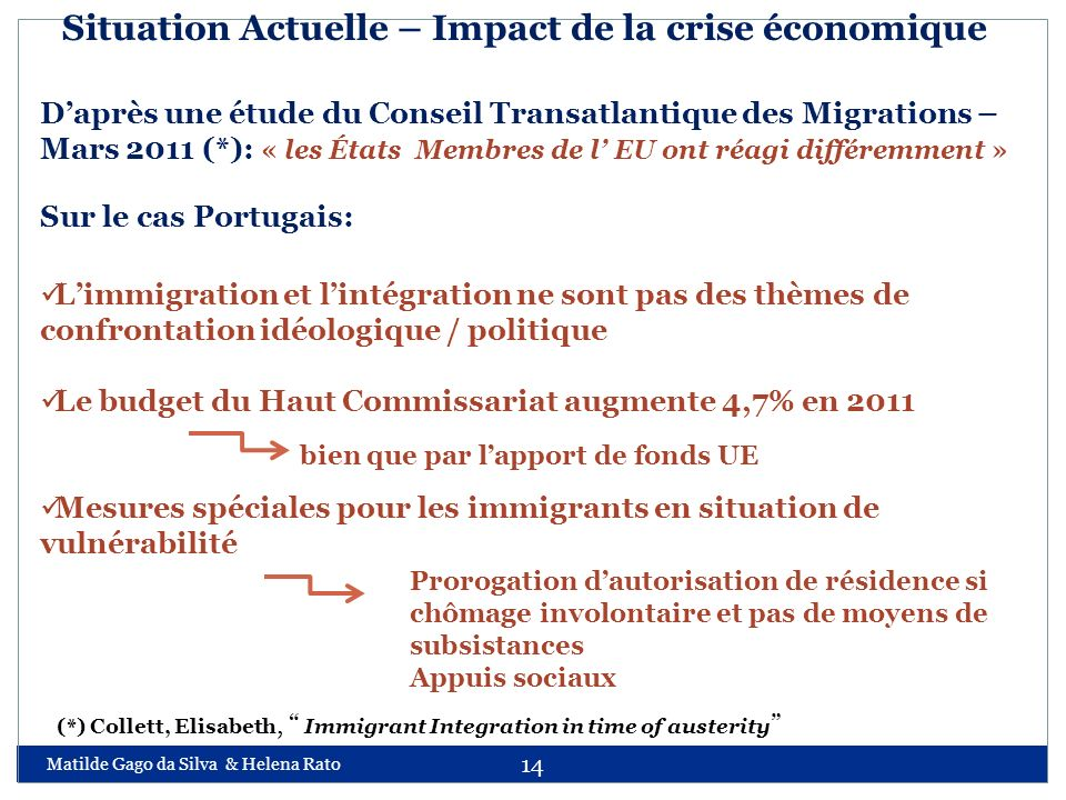 Situation Actuelle – Impact de la crise économique