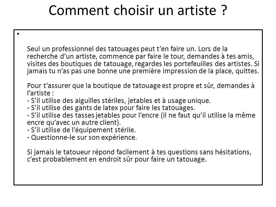 Comment choisir un artiste