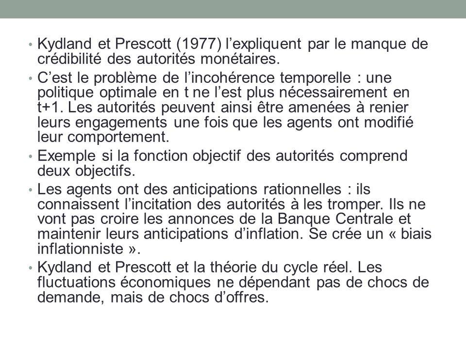Kydland et Prescott (1977) l'expliquent par le manque de crédibilité des autorités monétaires.