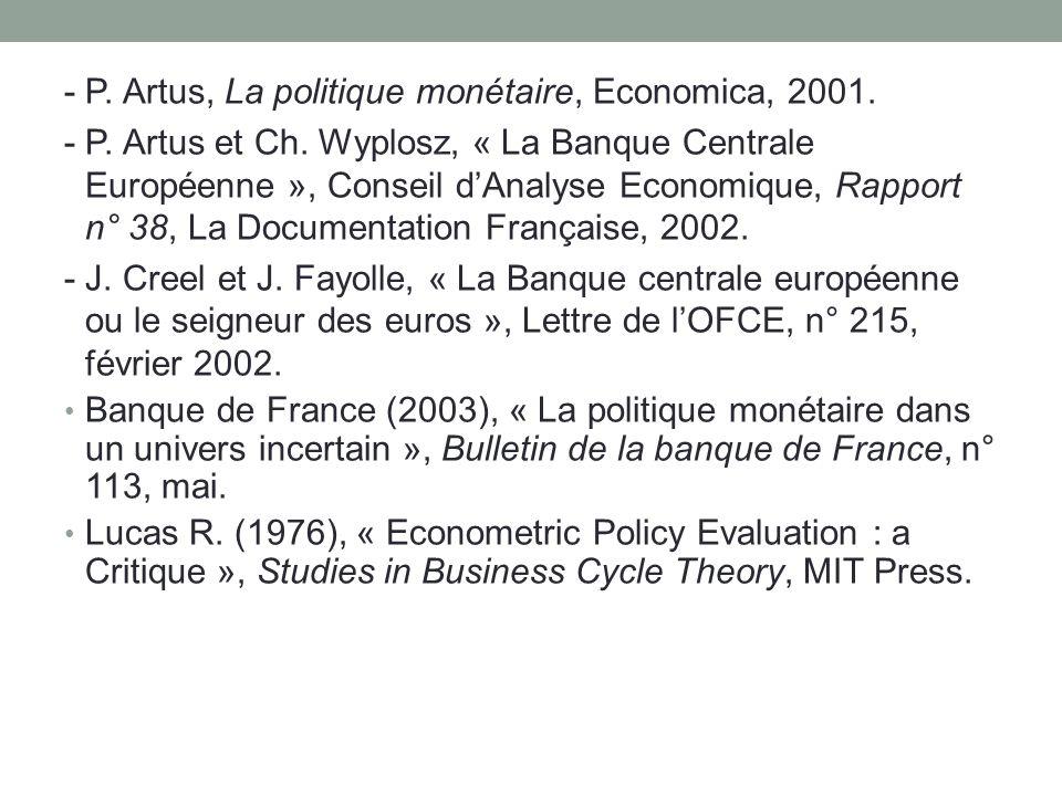 - P. Artus, La politique monétaire, Economica, 2001.