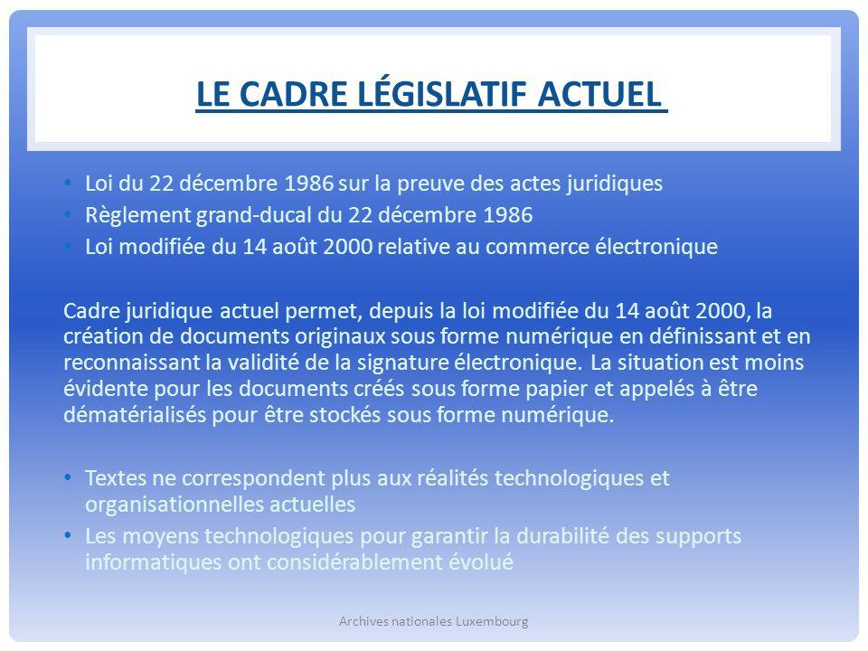 Le cadre législatif actuel