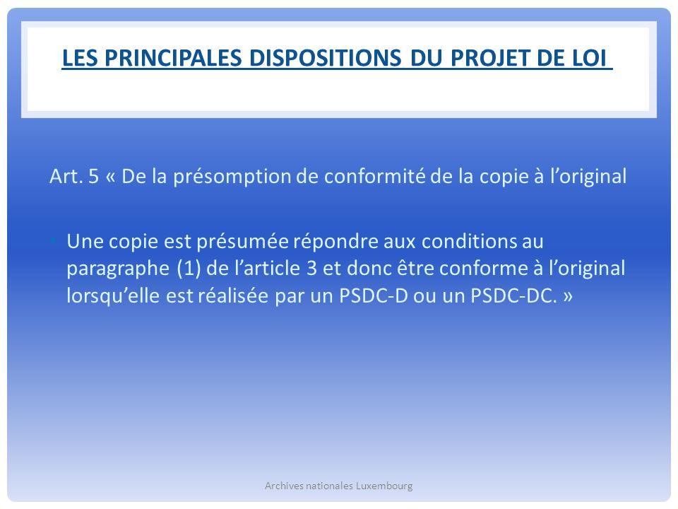 Les principales dispositions du projet de loi