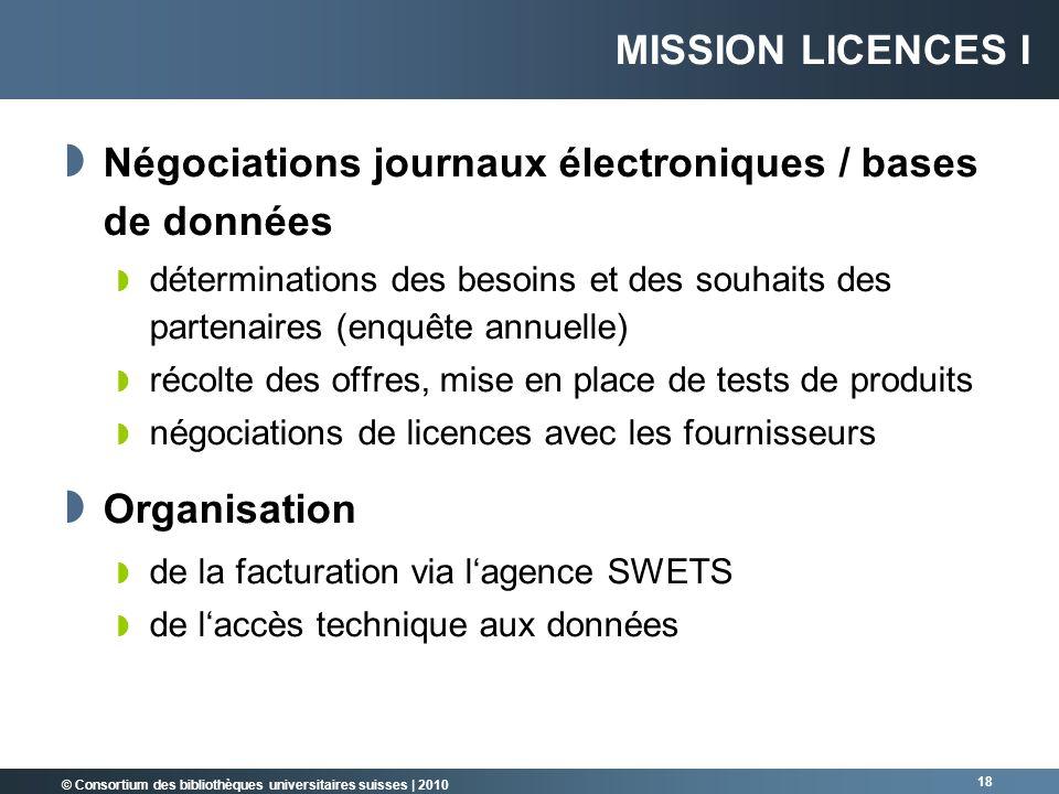 Négociations journaux électroniques / bases de données