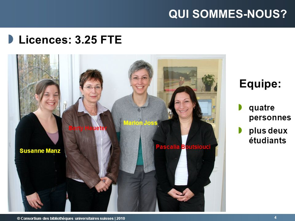 Qui sommes-nous Licences: 3.25 FTE Equipe: quatre personnes