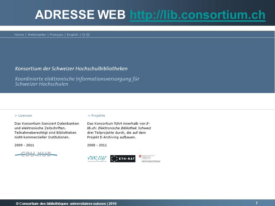 Adresse web http://lib.consortium.ch