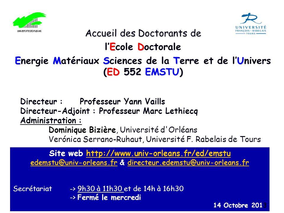 Accueil des Doctorants de l'Ecole Doctorale