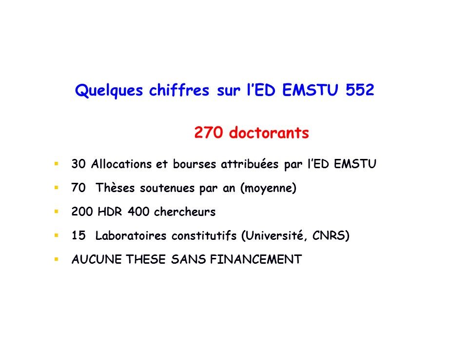Quelques chiffres sur l'ED EMSTU 552