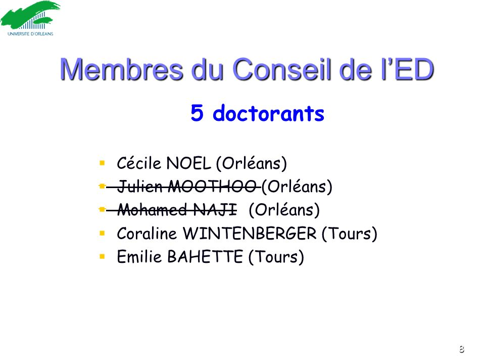 Membres du Conseil de l'ED