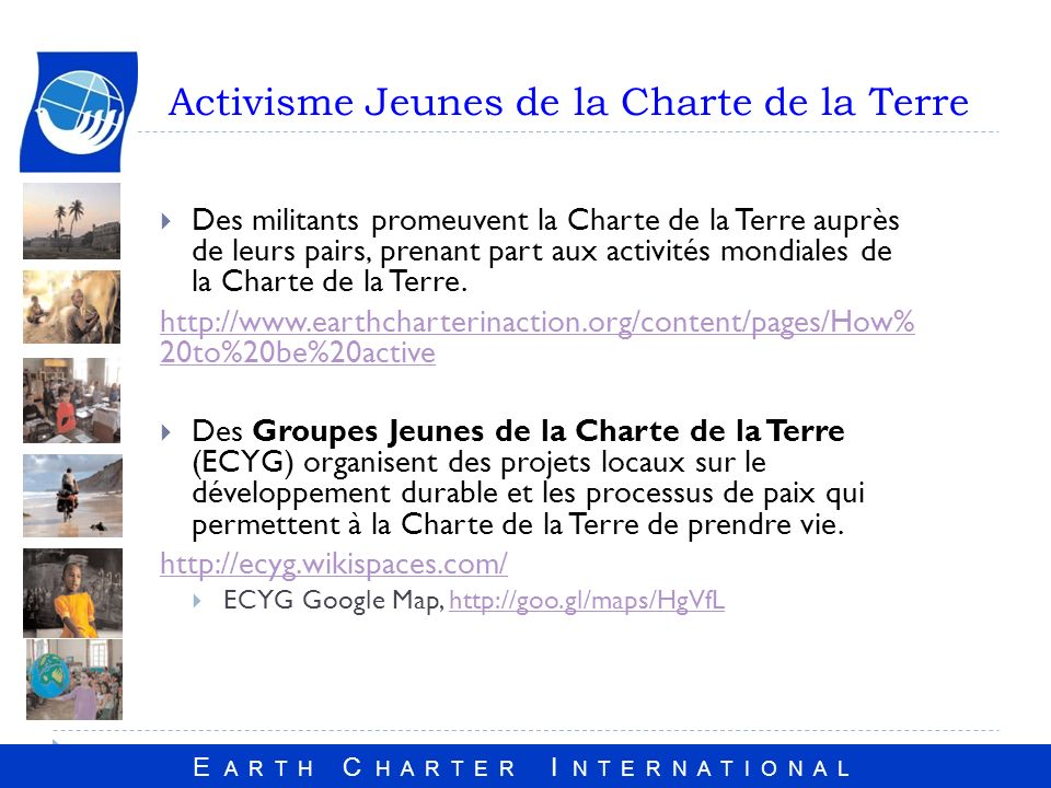 Activisme Jeunes de la Charte de la Terre