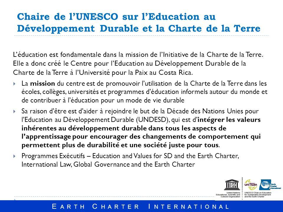 Chaire de l'UNESCO sur l'Education au Développement Durable et la Charte de la Terre