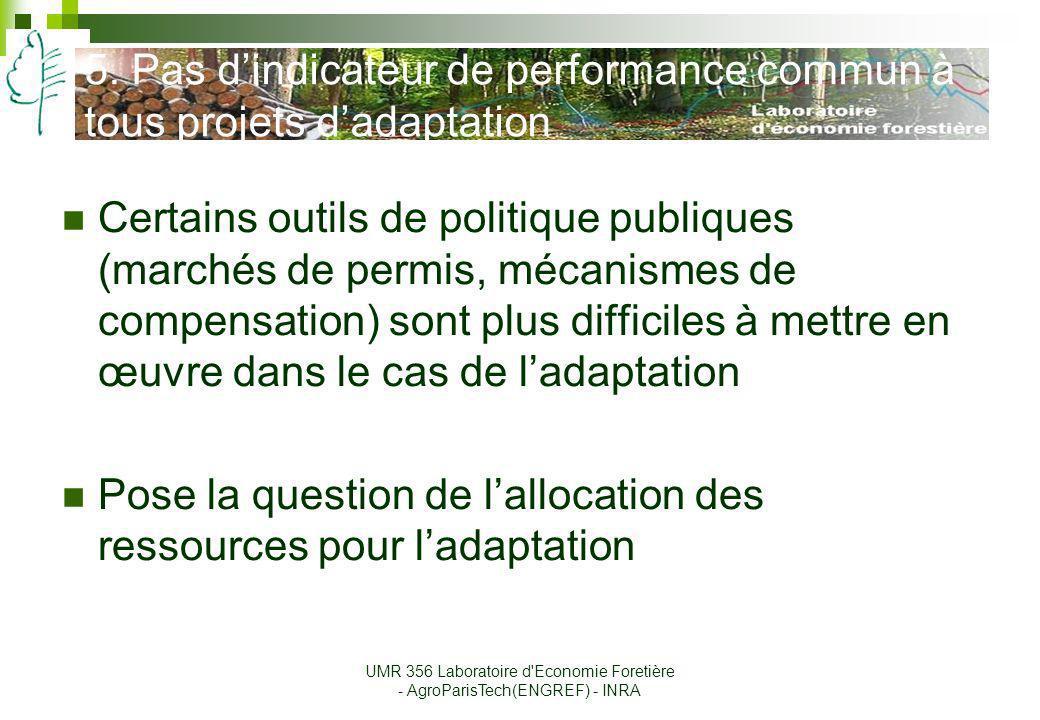 5. Pas d'indicateur de performance commun à tous projets d'adaptation