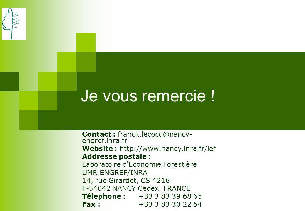 Je vous remercie ! Contact : franck.lecocq@nancy-engref.inra.fr