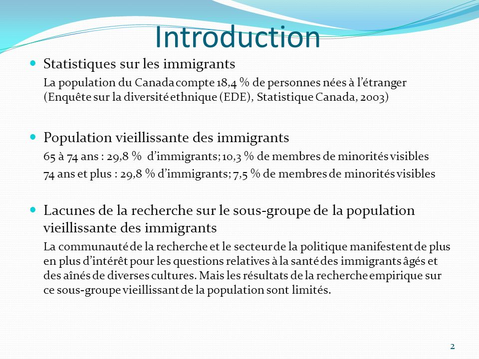Introduction Statistiques sur les immigrants