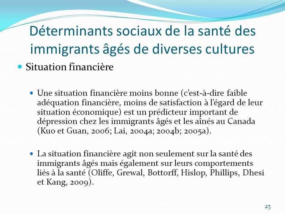 Déterminants sociaux de la santé des immigrants âgés de diverses cultures