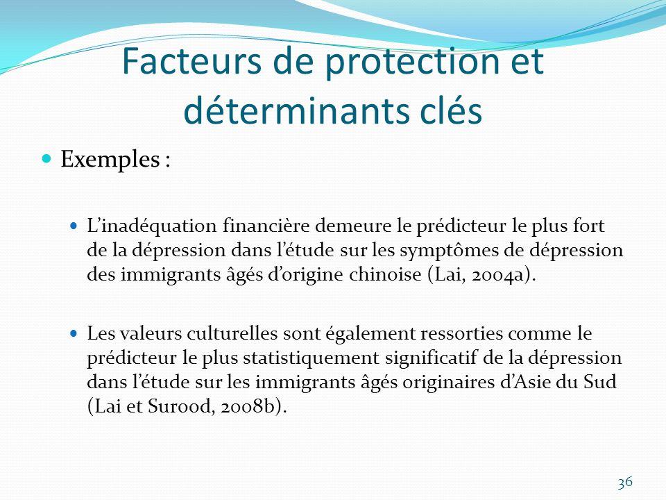 Facteurs de protection et déterminants clés