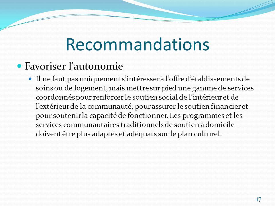 Recommandations Favoriser l'autonomie