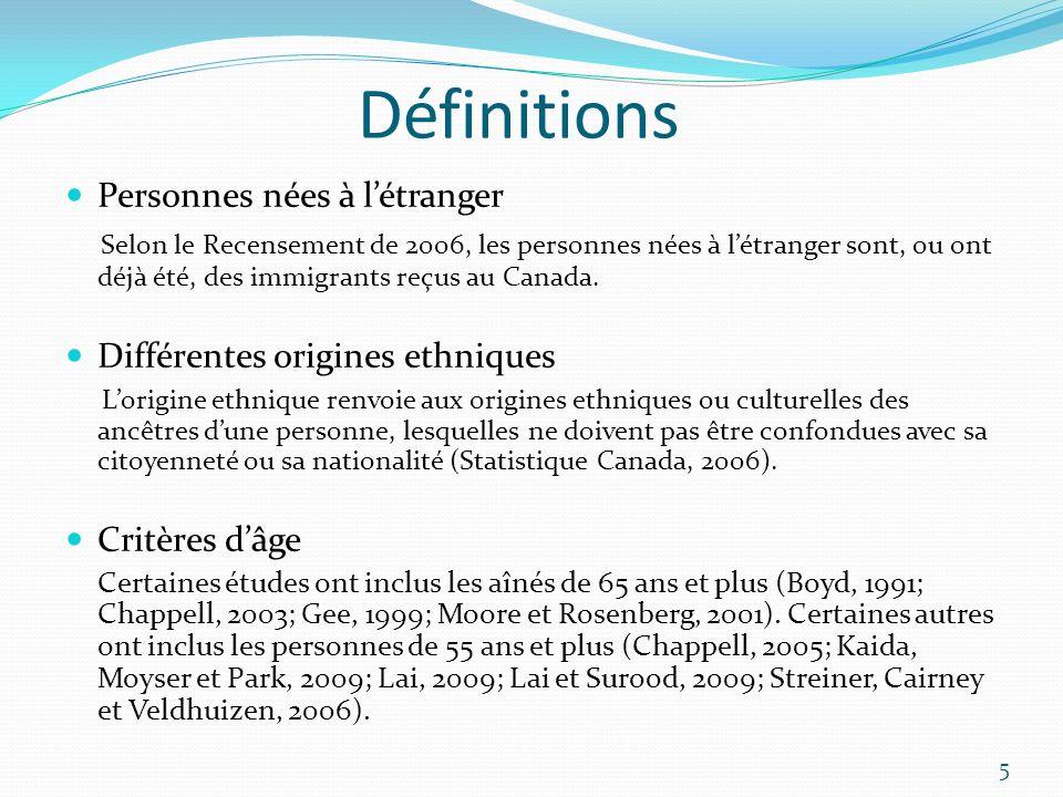Définitions Personnes nées à l'étranger