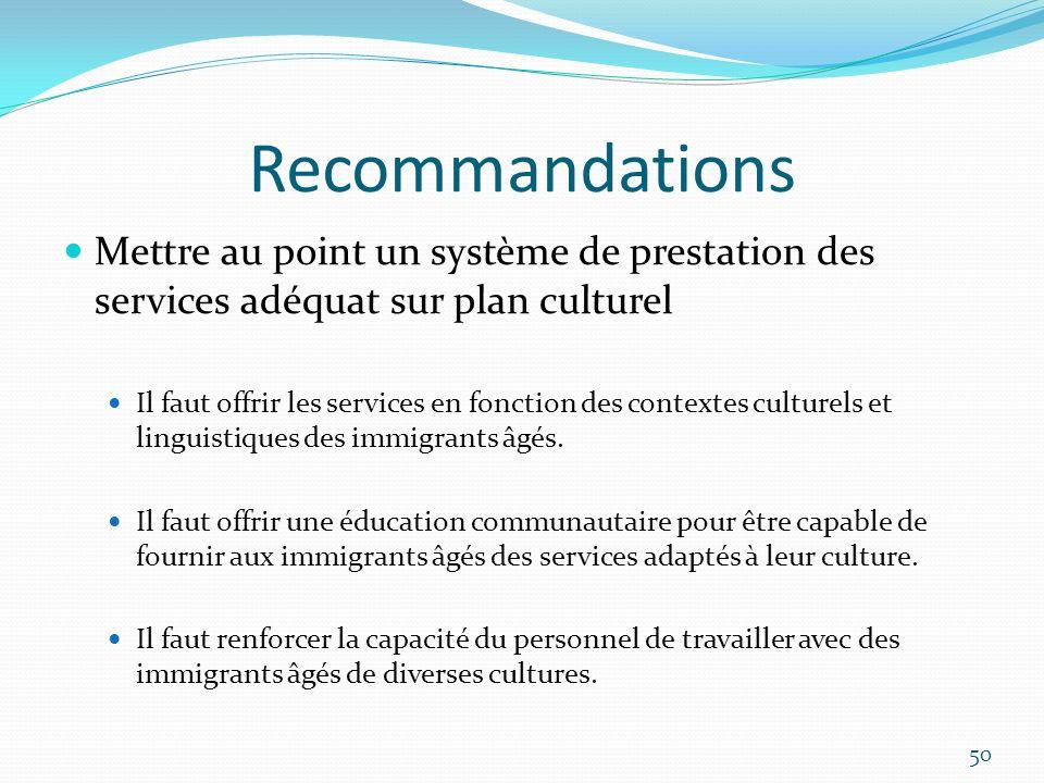 Recommandations Mettre au point un système de prestation des services adéquat sur plan culturel.