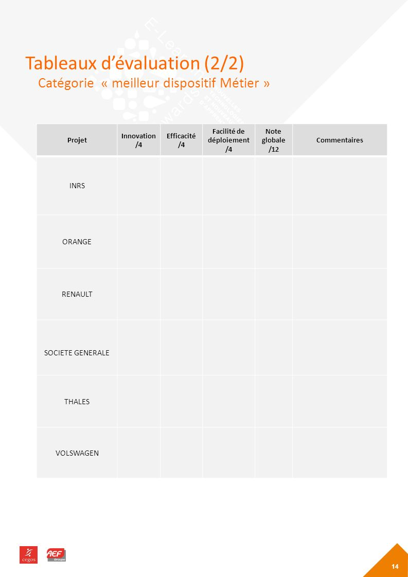 Tableaux d'évaluation (2/2)