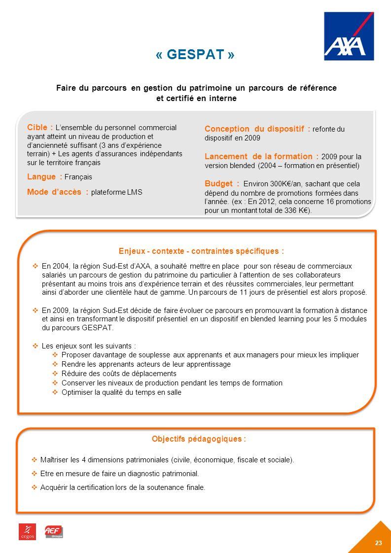 « GESPAT » Faire du parcours en gestion du patrimoine un parcours de référence. et certifié en interne.