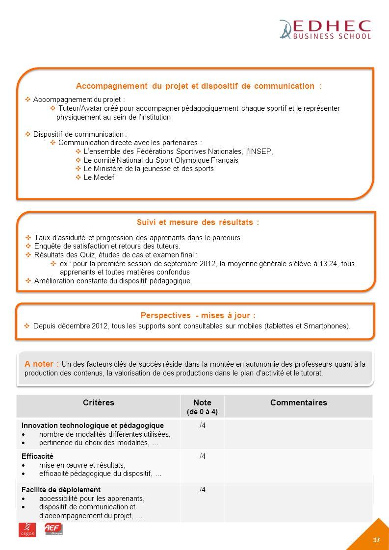 Accompagnement du projet et dispositif de communication :