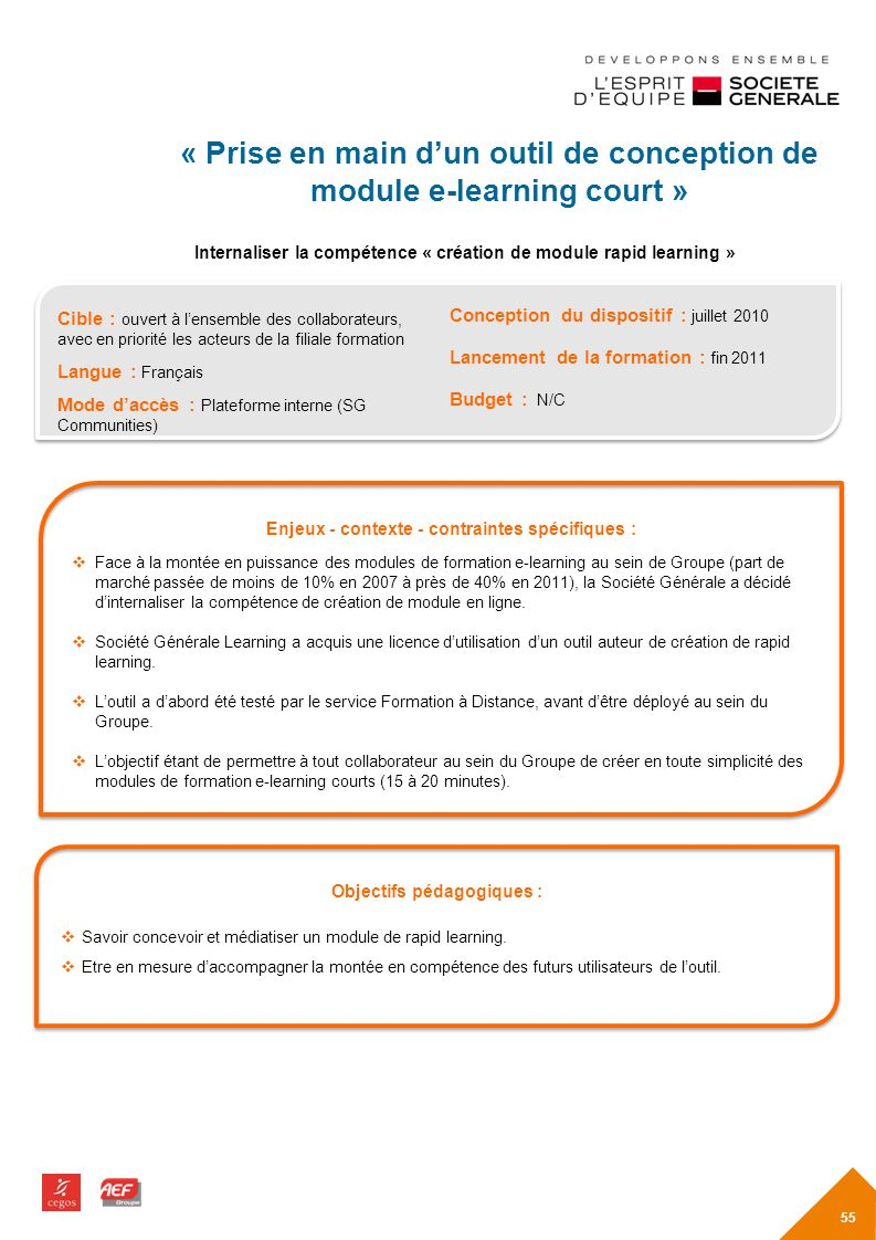 « Prise en main d'un outil de conception de module e-learning court »