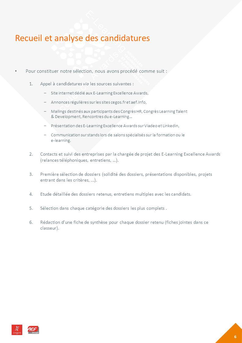 Recueil et analyse des candidatures