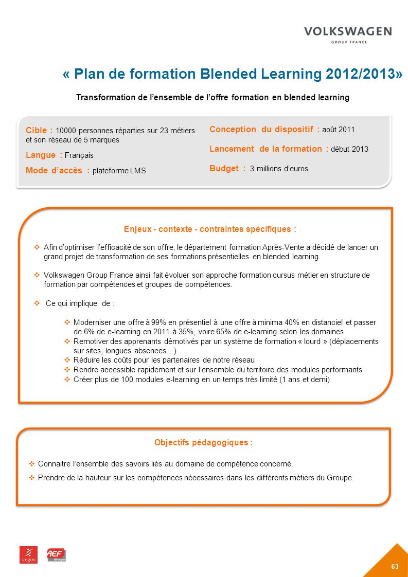 « Plan de formation Blended Learning 2012/2013»
