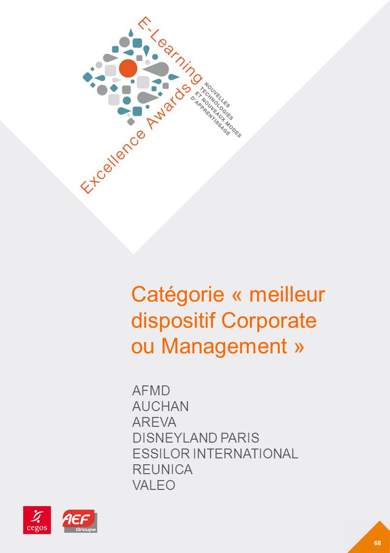 Catégorie « meilleur dispositif Corporate ou Management »