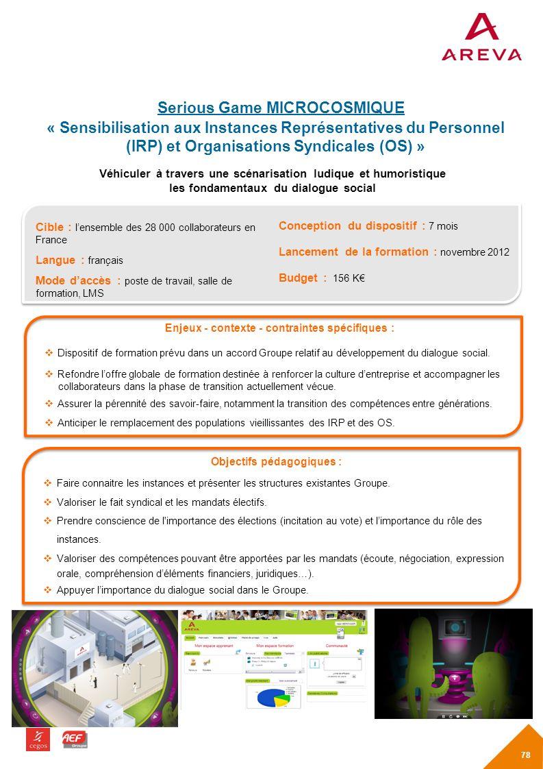 Serious Game MICROCOSMIQUE « Sensibilisation aux Instances Représentatives du Personnel (IRP) et Organisations Syndicales (OS) »