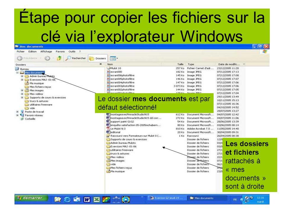Étape pour copier les fichiers sur la clé via l'explorateur Windows