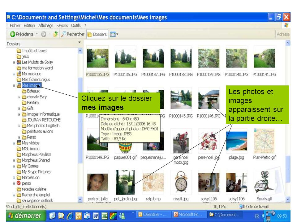 Les photos et images apparaissent sur la partie droite…