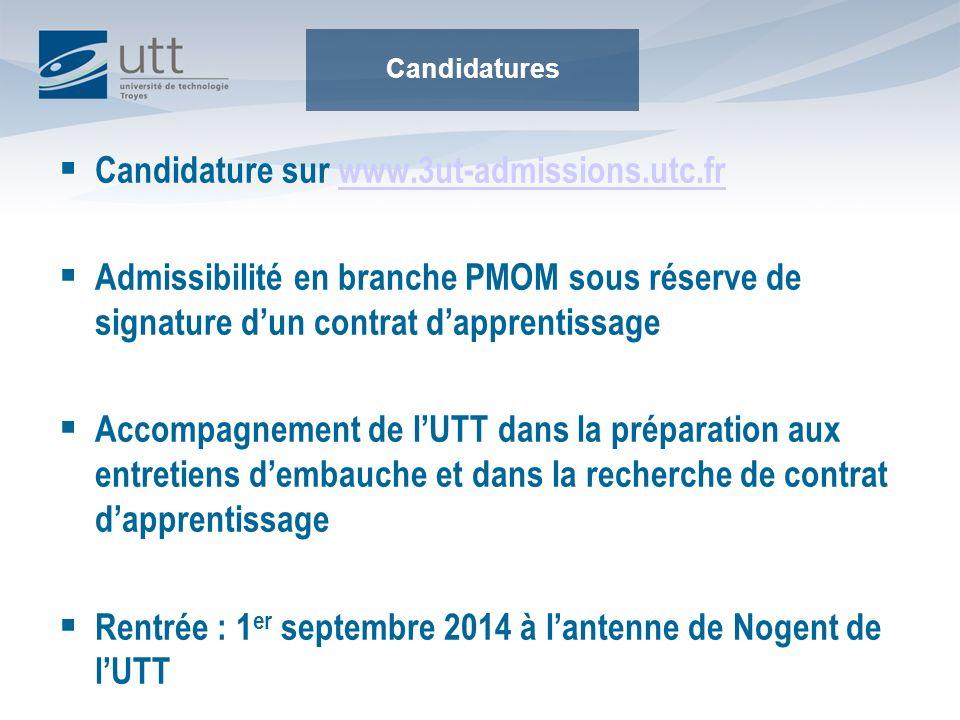 Candidature sur www.3ut-admissions.utc.fr