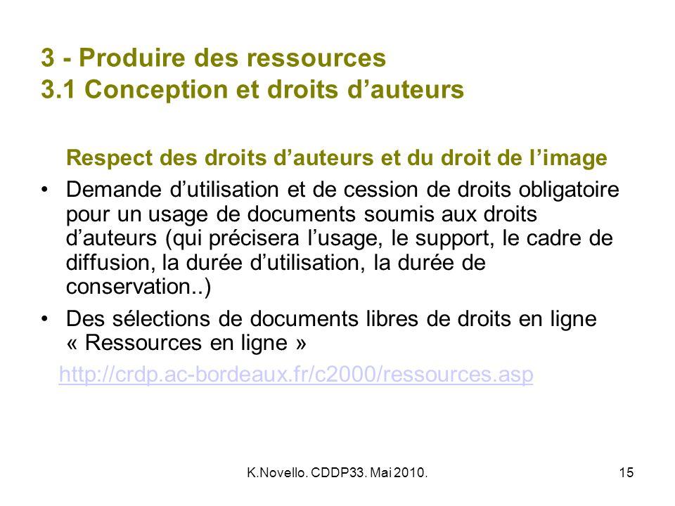 3 - Produire des ressources 3.1 Conception et droits d'auteurs