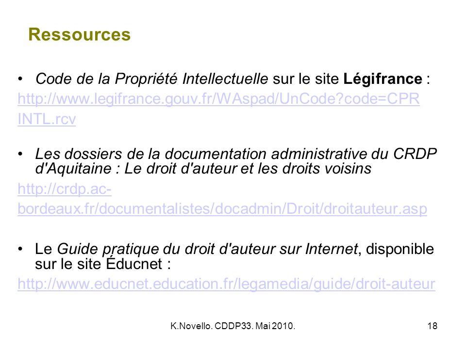 Ressources Code de la Propriété Intellectuelle sur le site Légifrance : http://www.legifrance.gouv.fr/WAspad/UnCode code=CPR.