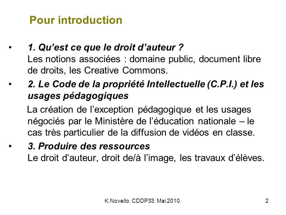 Pour introduction 1. Qu'est ce que le droit d'auteur Les notions associées : domaine public, document libre de droits, les Creative Commons.