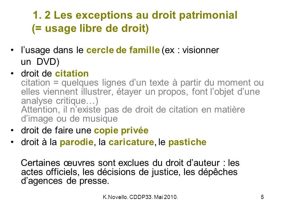 1. 2 Les exceptions au droit patrimonial (= usage libre de droit)