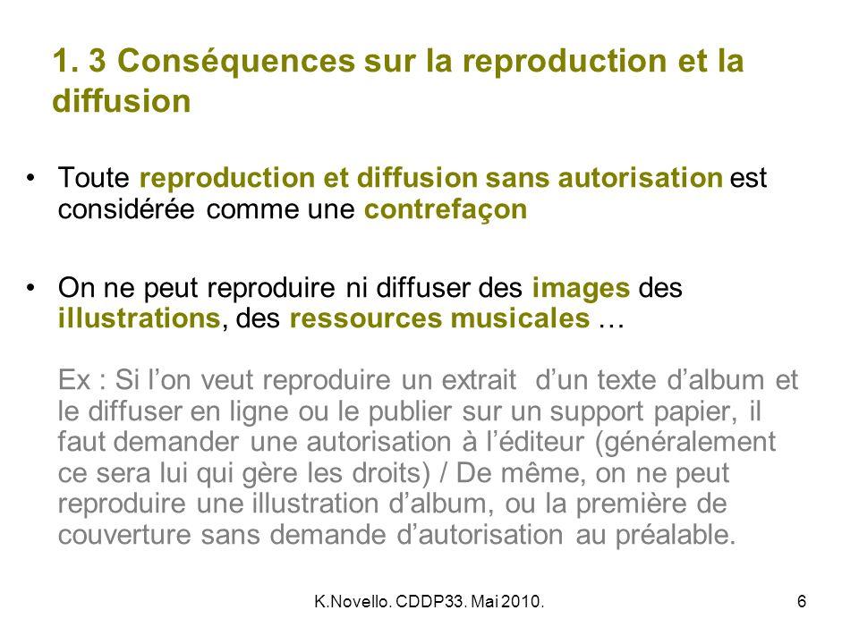 1. 3 Conséquences sur la reproduction et la diffusion