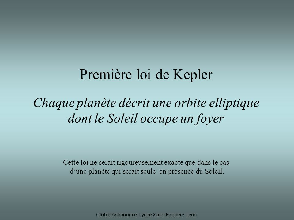 Première loi de Kepler Chaque planète décrit une orbite elliptique