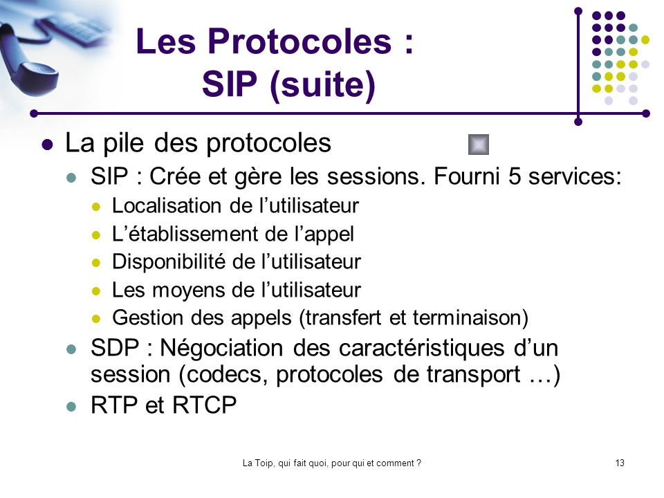 Les Protocoles : SIP (suite)