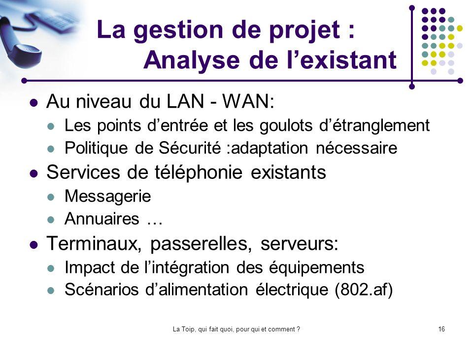 La gestion de projet : Analyse de l'existant