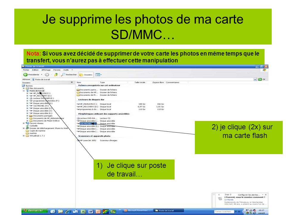 Je supprime les photos de ma carte SD/MMC…