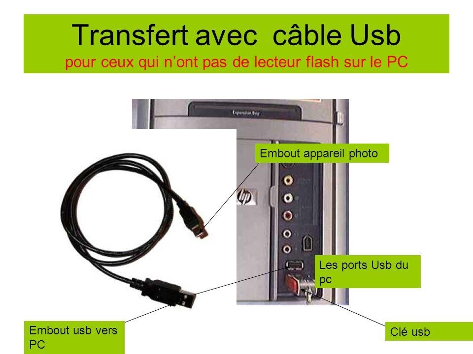 Transfert avec câble Usb pour ceux qui n'ont pas de lecteur flash sur le PC