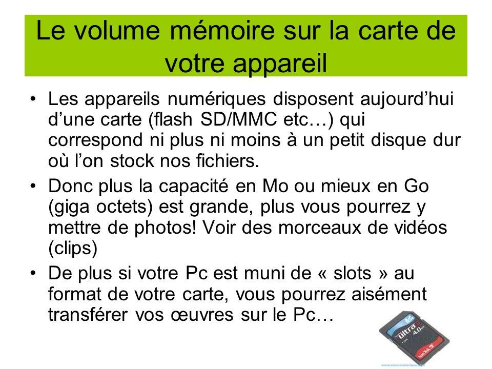Le volume mémoire sur la carte de votre appareil